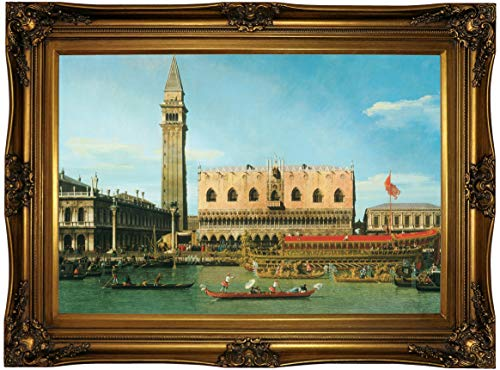 Historic Art Gallery The Bucintoro at The Molo on Ascension Day 1745 by Canaletto Framed Canvas Print, Size 19x28, Gold