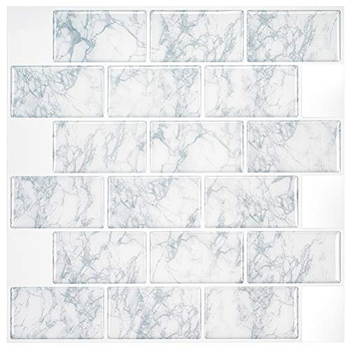 Uoisaiko Peel and Stick Kitchen Backsplash Wall Tile Stickers 30.5x30.5cm (12'x12') 4 Sheets, 3D Decorative Vinyl Self Adhesive Stick on Tiles Splashback for Bathroom