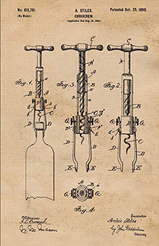 Wine Folly Tasting Journal: Corkscrew Patent Record Keeping Notebook Organizer | Diary Tracker Log...