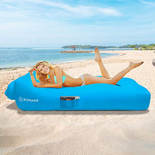 ZOMAKE Inflatable Lounger Couch with Pillow, Anti-Air Leaking & Portable Air Sofa Hammock for Beach,...