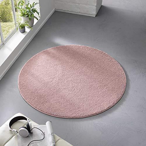 Taracarpet Teppich Kurzflor weicher Designer Uni Bodenbelag Madrid fürs Wohnzimmer, Kinderzimmer, Schlafzimmer und die Küche geeignet Rosa 120 cm rund