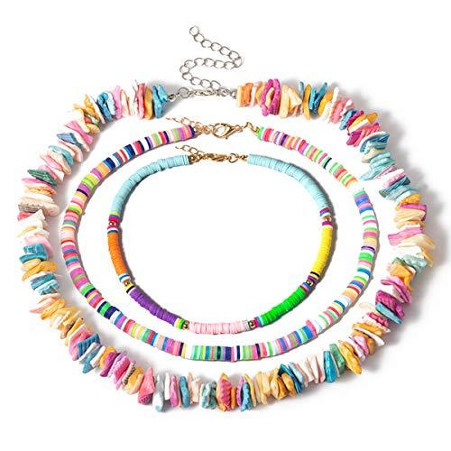 Ingemark 3 Pcs Boho Puka Chips Shell Choker Seed Beads Collar Necklace for Women Men Hawaiian Sand Beach Surfer Beaded Strands Choker Necklace Jewelry Set (Colorful)