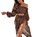 2 Piezas Bikini Cover Up con Estampado Leopardo Vestido de Playa Cubierta de Mujer Traje de Baño Crop Top de Manga Larga + Falda Larga Elegante para Mar Piscina Viaje Vacaciones, Marrón