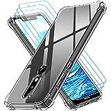 ivoler Klar Hülle für Nokia 5.1 Plus mit 3 Stück Panzerglas Schutzfolie, Dünne Weiche TPU Silikon Transparent Stoßfest Schutzhülle Durchsichtige Kratzfest Handyhülle Hülle