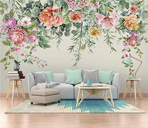 VVBIHUAING 3D Dekorationen Tapete Wandbilder Aufkleber Wand Floral Nordische Einfachheit Wohnzimmer Hintergrund Umwelt Kunst Kinder Küche (W) 250x(H) 175cm