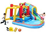 WELLFUNTIME Inflatable Water Park and Bouncy House with 3 Sprinkler Tunnels, Trampoline, Climbing Wall, Cannon, Water Slide with Air Blower