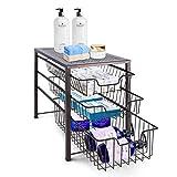 Simple Trending 3-Tier Under Sink Cabinet Organizer with Sliding Storage Drawer, Desktop Organizer for Kitchen Bathroom Office, Stackable,Bronze
