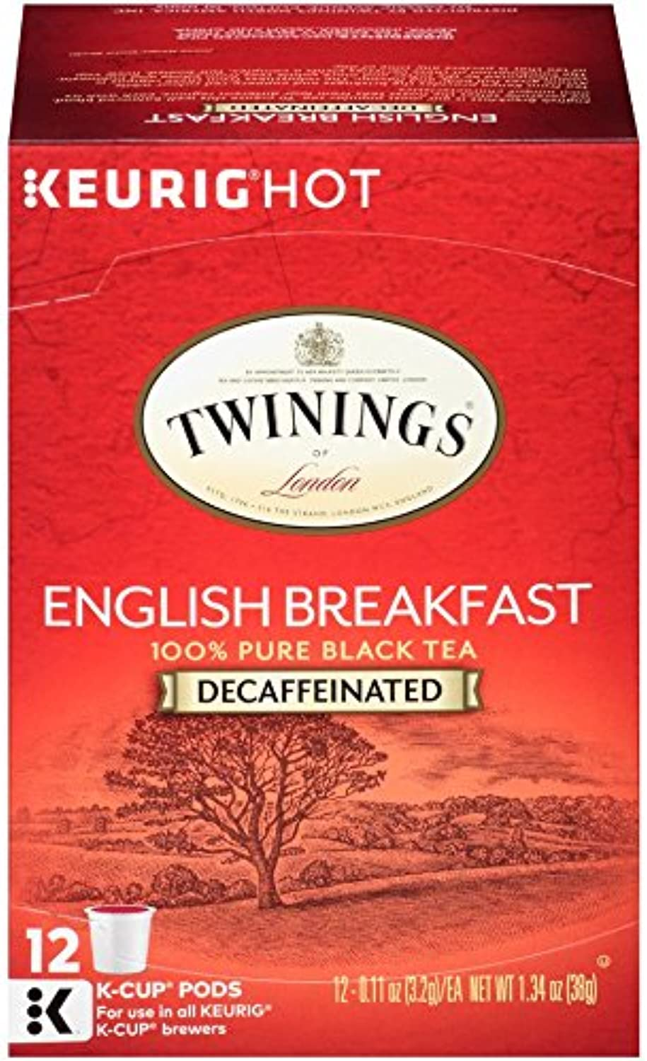 Twinings of London Decaffeinated English Breakfast Tea K-Cups for Keurig, 12 Count (Pack of 6)