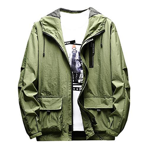 Preisvergleich Produktbild MAYOGO Wasserdicht Winddichte Outdoor Jacke Übergangsjacke für Herren,  Männer Sweatjacke Laufen Sportjacke Trainingsjacke Freizeitjacke Light Jacket (Grün,  XXXXL)