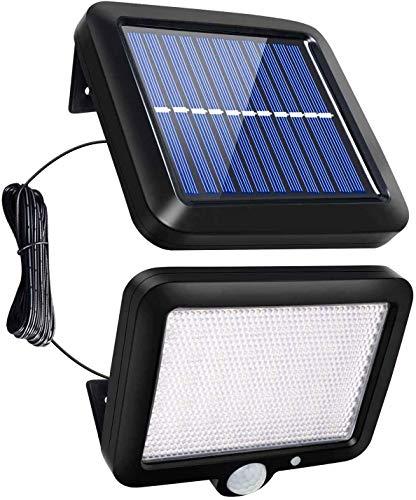 CAMPSLE Luz solar LED, luz de pared con reflector de seguridad de 56 LED con sensor de movimiento PIR, luz impermeable de anochecer a abajo, luz de pared exterior de panel solar