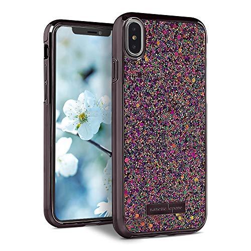 Nanette Lepore iPhone XR Case – Purple Glitter Fun Fashion Design – Shock Proof, Anti Scratch, Anti Slip - Slip On Case Full Protection