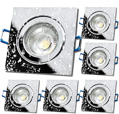 LED Bad Einbauleuchten 230V inkl. 6 x 7W LED LM Dimmbar Farbe Chrom IP44 Deckenspots Neptun Eckig 3000K Warmweiß