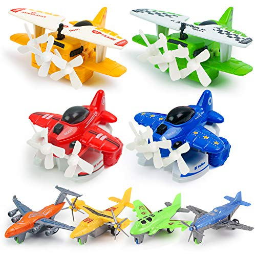 3 otters 8PCS Airplanes for Kids, Pull Back Airplanes Vehicle Playset Airplanes for...