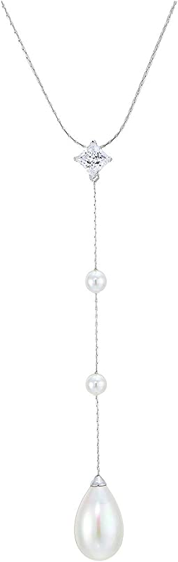 Rosa 5mm White Round and 12mm Pear Shaped Pearls Pendant w/ CZ In Sterling Silver Chain 15-17""