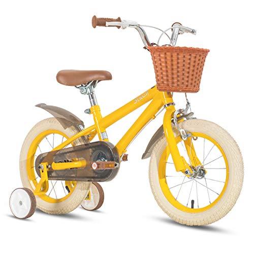 STITCH 18 Zoll Kinderfahrrad für Mädchen & Jungen Alter 5-9 Jahre alt, 18 Zoll Kinderfahrrad mit Stützrädern & Handbremsen, gelb