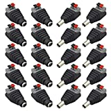FULARR® 20Pcs Profesional 5.5 X 2.1mm Prensa Tipo DC Macho Hembra Conector Kit, 12V DC Alimentación Conector Enchufe Jack Adaptador, 10 Pares 2 Pin Macho Enchufe & Hembra Socket