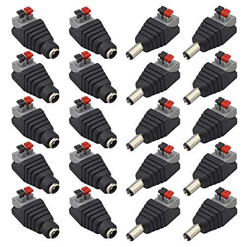 FULARR® 20Pcs Professionale 12V Premere Tipo DC Alimentazione Connettore Jack Plug Adattatore, 5.5 X 2.1mm Screwless Rapido Filo Connettore, 10 Paia 2 Pin Maschio Spina & Femmina Presa Set
