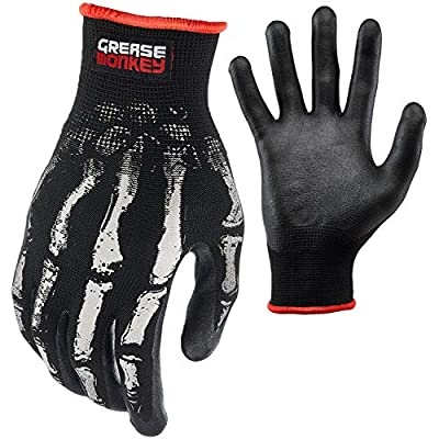 Grease Monkey Bone Series Foam Nitrile Mechanic Gloves with Grip, Work Gloves and All Purpose Gloves, Bones, X-Large
