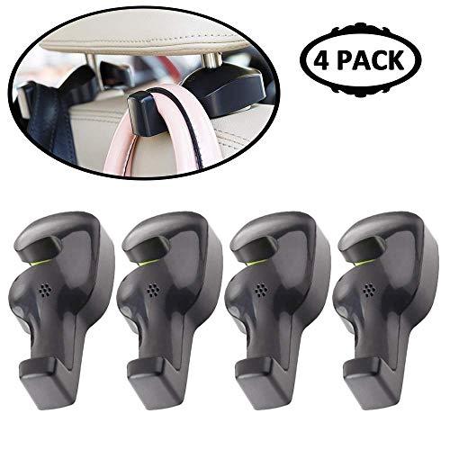 HC Iridescent Car Purse Hook Holder, Car Headrest Hooks for Purses and Bags, Hard Hat Holder for Truck Seat, ABS Car Hanger Hooks for Seat   Universal Car(Black 4 Pack)