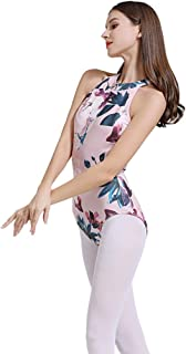Limiles Women's Halter Neck Bodysuit Keyhole Back Gymnastic Ballet Dance Leotard Tops Dancewear Costumes