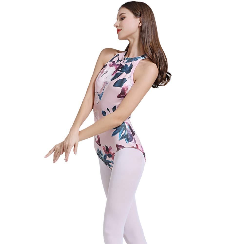 Limiles Womens Halter Neck Bodysuit Keyhole Back Gymnastic Ballet Dance Leotard Tops Dancewear Costumes