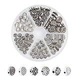 PandaHall Elite 120 cuentas espaciadoras redondas planas de aleación tibetana de plata envejecida para pulseras y collares de joyería (estrella, espiral, flor, rombo)