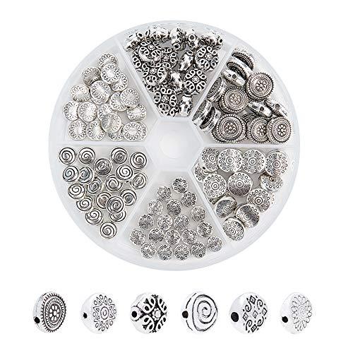 PandaHall 6 Stili 120 pz Tibetano Stile Perline Rotonde Perline Argento Antico distanziatore Allentato Perline in Metallo Charms per Gioielli Artigianali Fare