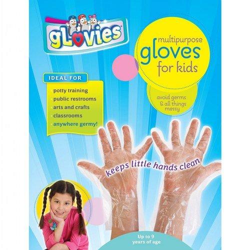 gLovies Guantes desechables duraderos y sin látex para todo tipo de pieles, actividades infantiles 100 Paquete Claro