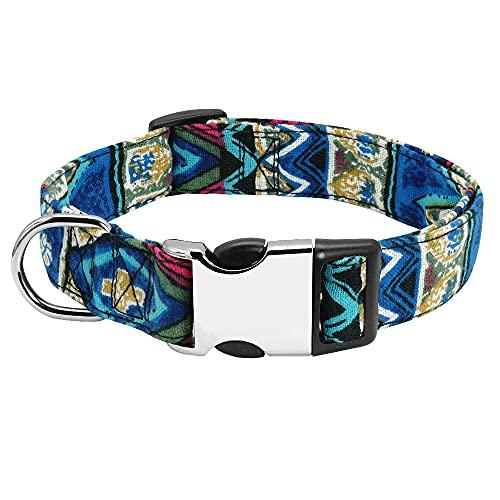 LHKMGH Collar De Perro, Collares De Perrito De Perrito Impreso De Nylon Addutables para Pequeños Perros Medianos,22~37cm