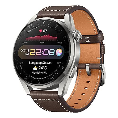 HUAWEI WATCH 3 Pro - 4G Smartwatch, 1.43'' AMOLED Bildschirm, eSIM Handyie, 5 Tage Akkulaufzeit, 24/7 SpO2 und Herzfrequenzmessung, GPS, 5ATM, 30 Monate Garantie, braunes Lederarmband