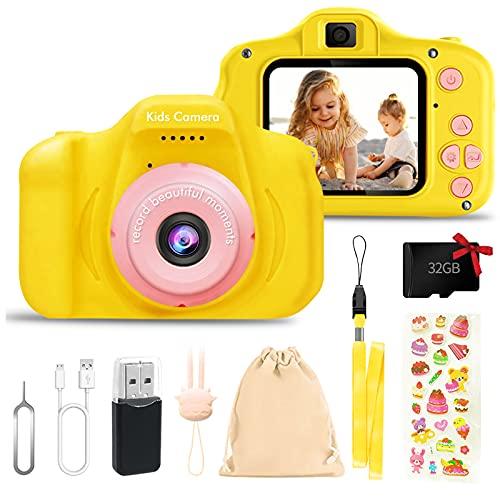 Fotocamera Digitale per Bambini Giocattoli, 2 Pollici Schermo HD Videocamera 1080P, Fotocamera per Bambini 32 GB TF Card, Regalo Compleanno per Bambini