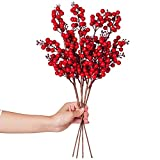 Lvydec 4 Pack Artificial Red Berry Stems - 19.5 Inch Christmas Holly Berry Branches for Holiday Home...