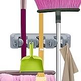 VICKMALL Gerätehalter Wandhalterung Ordnungsleiste Wandhalter mit 4 Haken und 3 Schnellspannern für Mopp, Besen und Gartenwerkzeug (4 Haken und 3 Schnellspannern)
