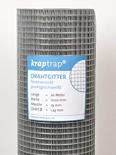 kraptrap® Volierendraht Drahtgitter 19x19mm Masche 100 cm Breite, 20 m Länge (1m x 20m)