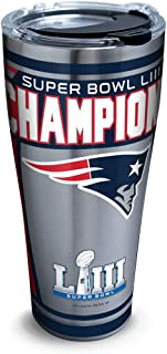 Tervis 1324942 NFL New England Patriots Super Bowl 53 Champions Stainless Steel Insulated Tumbler with Lid, 30 oz, Silver