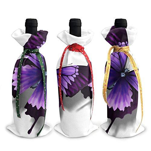 Bolsas para decoración de botellas de vino con diseño de mariposas, color morado