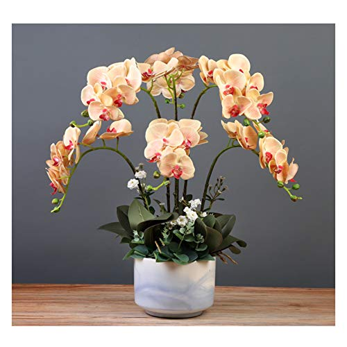 Artificial Flora Orchids Flowers Arrangement - Lifelike Faux Butterfly Orchids 23.6' Height Artificial Phalaenopsis Orchids Plants for Home/ Office/ Parlor/ Wedding Party Decoration Artificial Flowers
