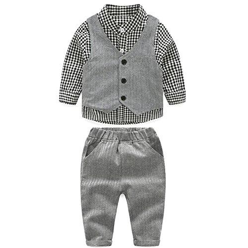 Demiawaking 3pcs Kleinkind scherzt Jungen Gentleman Ausstattungs langes Hülsen Hemd Weste Hose Kleidung Set (2.5-3 Jahre, Grau)