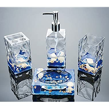 Yeti Decor 4 Piece Acrylic Liquid 3D Floating Motion Bathroom Vanity Accessory Set Shell