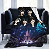 BTS Blanket Throws Kpop Vocal Concert Warm Hugs Ultra Soft Lightweight Couch Sofa Office Flannel Blanket for Traveling Camping Home 50'x40'