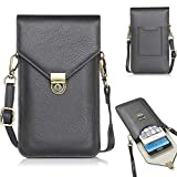 Women Small Crossbody Bag Vegan Leather Cell Phone Purse Wallet Pouch with Card Pocket Holder for iPhone 11 Pro Max, Xs Max/Galaxy Note 9, Note 8, S10 Plus, S9 Plus/LG Stylo 5, 4 Plus (Black)