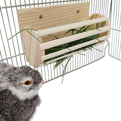 Small Animals Grass Feeder for Rabbits/Guinea Pig/Chinchillas/Hamster,Pet Wooden Hay Feeder Food Holder for Cage,Bunny Non-Toxic Grass Container Hay Dispenser, Keeps Grass Clean & Fresh (Burlywood)