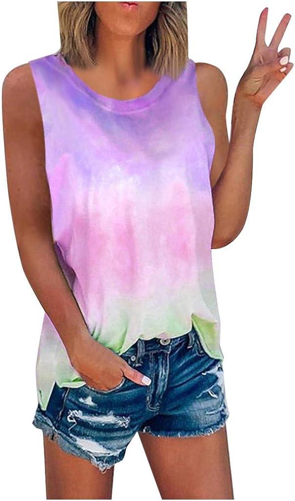 Gerichy Tank Tops for Women, Womens Tops Summer Casual Cute Sleeveless Tie-Dye Tees Blouse Tunics Vest Shirts
