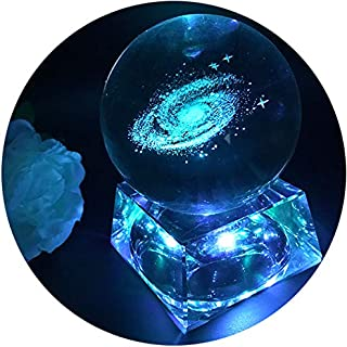 Zulux Galaxy Crystal Ball - Galaxy Balls for Kids with LED Lamp Base, Clear 80mm(3 inch) Galaxy Glass Art for Kids Birthday Gifts, Teacher Gifts,Gift for Anniversary and Boyfriend Birthday