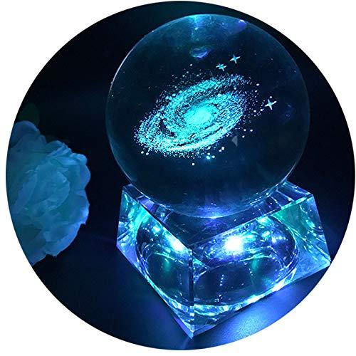 Galaxia Bola de cristal - Luces de noche para niños con base de lámpara LED, Claro 80mm Esfera de cristal Regalos para niños, Lámpara Galaxy lamparas infantiles
