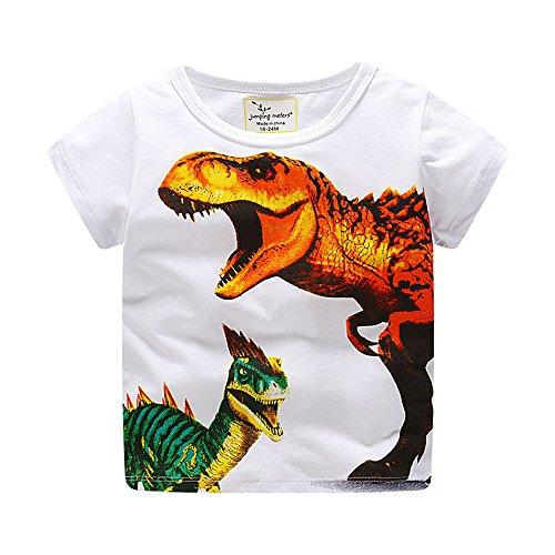 LOPILY Camiseta De Manga Corta con Estampado Ropa para NiñOs De Dinosaurios De Dibujos Animados para NiñOs Blusa
