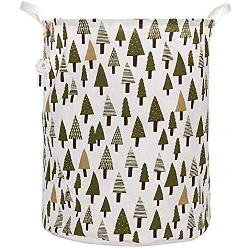 Sea Team 21.7' Oversize Linen & Cotton Fabric Folding Nursery Laundry Hamper Bucket Cylindric Burlap Canvas Storage Basket with Waterproof PE Coating Lining (Tree)