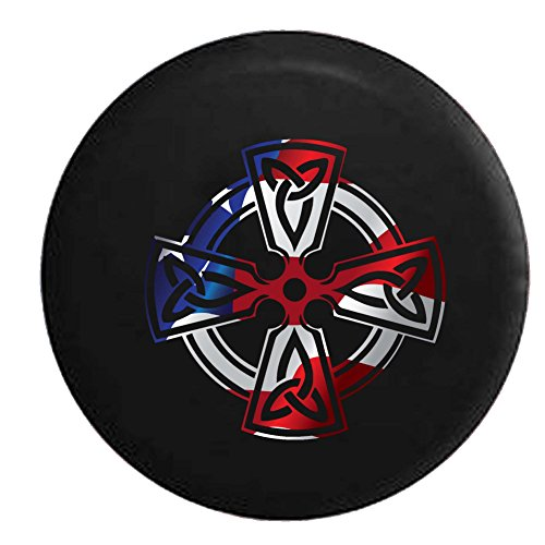 Flag - Celtic Cross Knot Irish Shield Warrior Spare Tire Cover Fits: SUVs RV and Camper Spare Tire Covers Black 31 in
