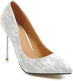 Flower Print High Heels For Banquet Wedding Dress Daily (Color : White, Size : 35)