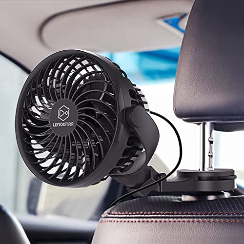 LEMOISTAR USB Powered 5V Car Fan, Powerful 4 Speed Quiet Ventilation Electric Cooling Fans with Clip/Hook/Suction Cup, Portable Car Fans for Rear Backseat Passenger Baby Dog(USB Powered ONLY)